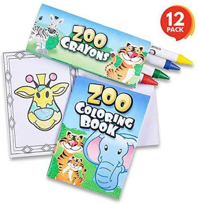 ArtCreativity Zoo Animals Mini Coloring Book Kit (12 Sets) | Each ...