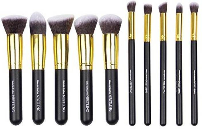 b9d0c5eb0728 Nestling 10 Pcs Premium Professional Kabuki Makeup Brush Set ...