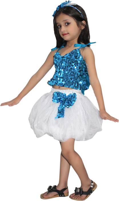 a7abd8498be8e Kaku Fancy Dresses Firozi Silver Skirt Top Costume, Western Costume ...