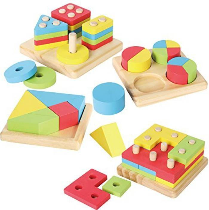 Joyin Toy 4 in 1 Wooden Educational Shape Color Sorting Puzzles Preschool  Stacking Block Toddler Toys (1 Pieces) 035165d538ad