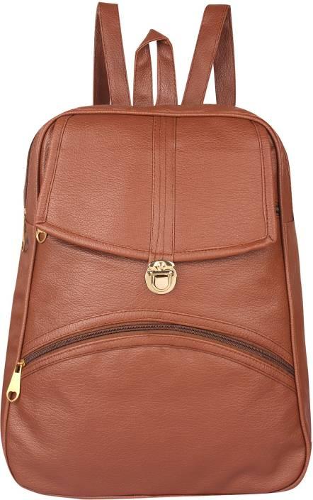 bdfee54f7d83 Rajni Fashion PU Leather Backpack School Bag Student Backpack Women Travel  bag Tuition Bag 12 L Backpack (Tan)