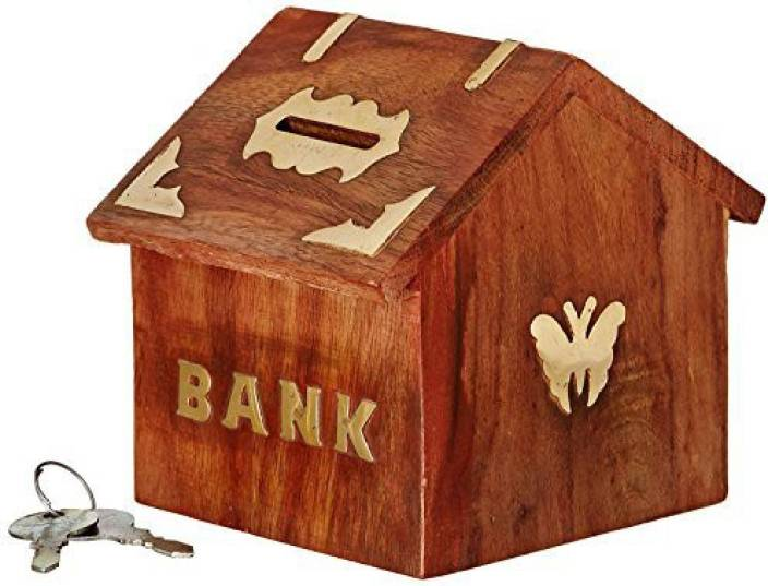 Indian Glance Wooden Carving Safe Coin Money Bank Saving Box