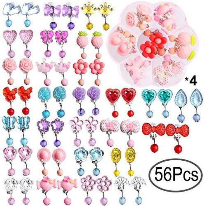 Genrc Hicdaw 28 Pairs S Clip On Earrings Play Princess Jewelry Orted Design With 4 Clear Box For Kids Toddler Pa