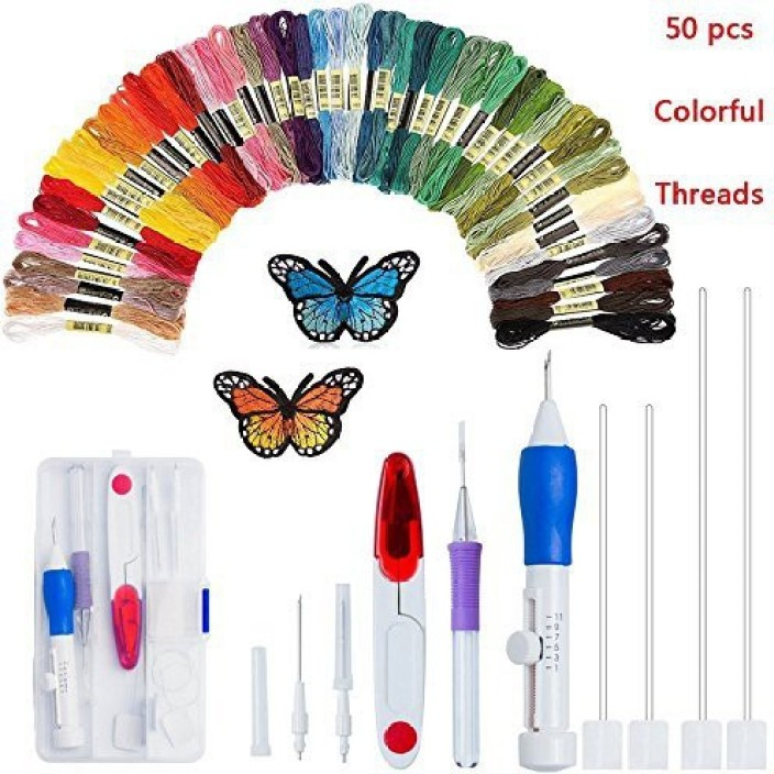 Embroidery Needle Pen Punch with 3 Type Needle DIY Craft Tools Kit