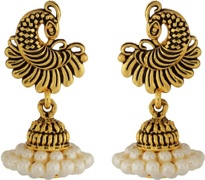 176d069f5 Flipkart.com - Buy RN Gold Plated Traditional White Pearl Peacock Design  Stylish Ethnic Peacock Jhumki Earrings Jewellery for Women Pearl Brass  Jhumki ...