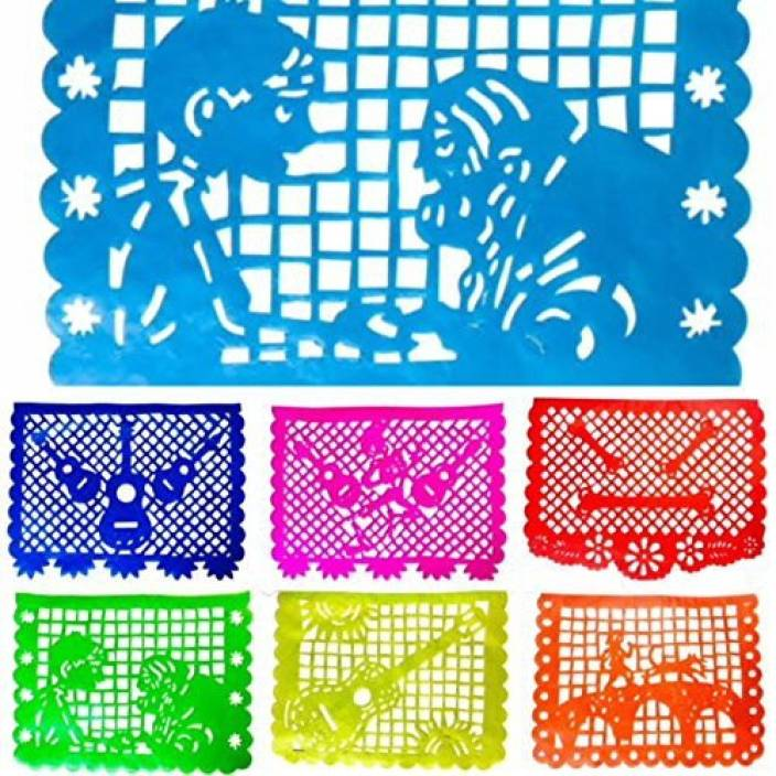 Genrc Coco Inspired Papel Picado Banners Rainbow Horizontal Large