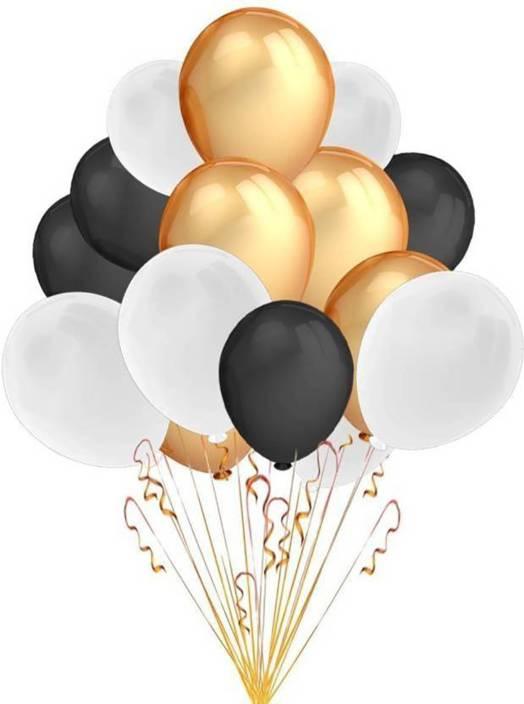 Art Bundle Solid Happy Birthday Decoration Metallic HD Balloons Black Golden White Set Of 45 Balloon Blue Pack