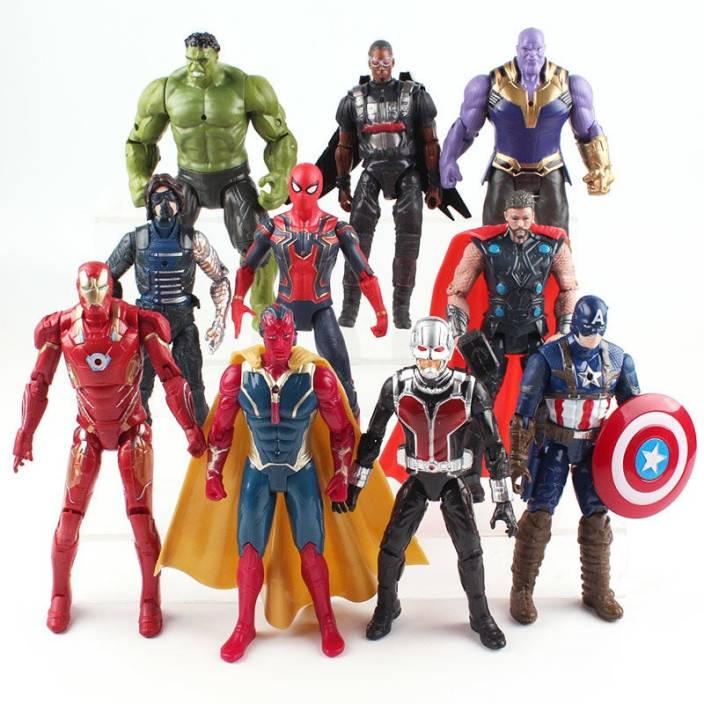 612307ae imodish Marvel Avengers Infinity War 10 Pcs. / Set Thanos, Hulk, Hawkeye,  Spiderman, Thor, Vision, Iron Man, Captain America, Ant Man 15-19 Cms.  Action ...