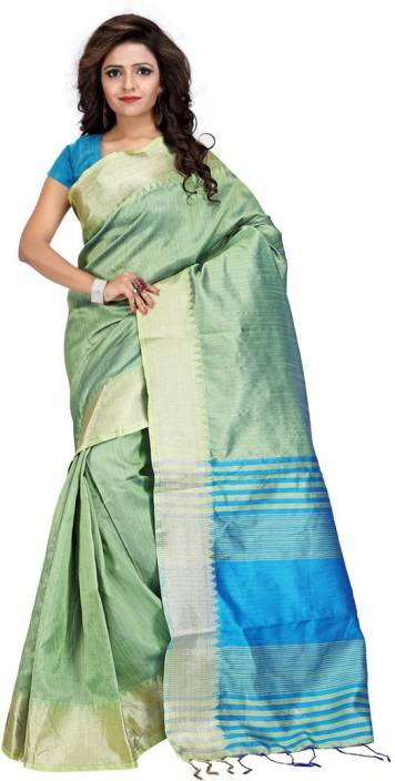 3e51ac23ef1 Buy Rongoly Striped Banarasi Silk Light Green Sarees Online   Best ...