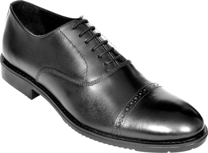 3f77d3a84e065 OHM New York Cap Toe Brogue Oxford italian leather shoes Oxford For Men  (Black)