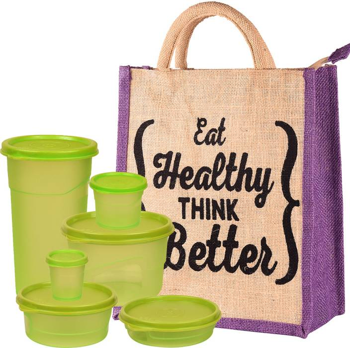 THUNDERFIT Rich Lunch Box with Jute Bag Containers Tiffin for Office Collage and School Ideal for Men Women and Childrens ( Lunch Box Container Size - 100 ml, 175 ml, 225 ml, 350 ml, 375 ml, 550 ml)-49 6 Containers Lunch Box