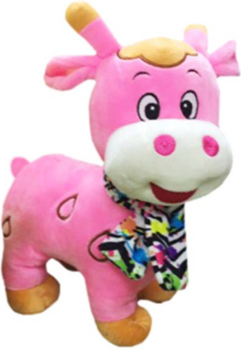My Baby Excels Pink Cow Plush With Printed Scarf 25cm 25 Cm Pink