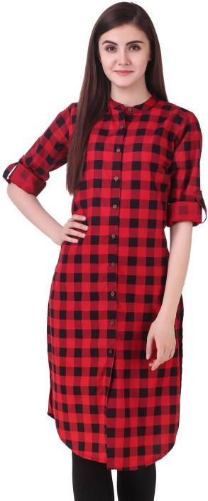NxtSkin Women Checkered Straight Kurta