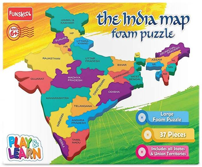 Funskool Play & Learn Puzzles FOAM PUZZLE INDIA MAP - Play ...