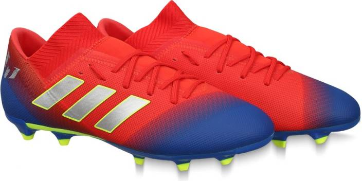 4d5aa740b ADIDAS NEMEZIZ MESSI 18.3 FG SS 19 Football Shoes For Men (Red, Blue)