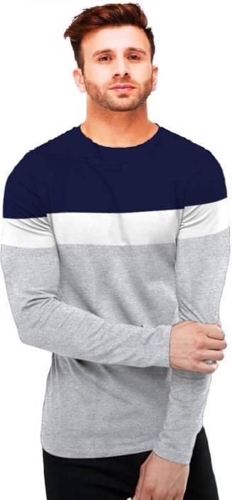 Azy Fabrics Striped Men Round Neck Multicolor T-Shirt