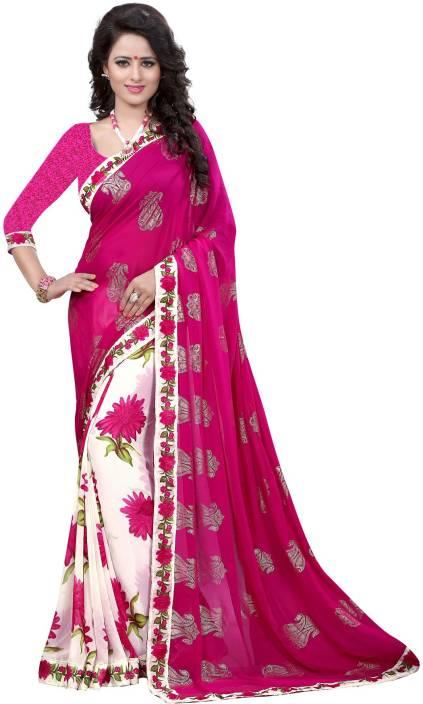 Hinayat Fashion Floral Print Fashion Chiffon Saree
