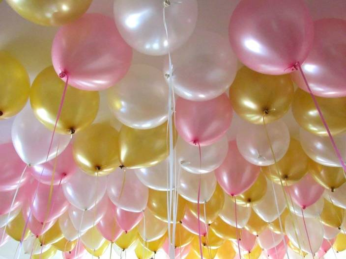 Art Bundle Solid Happy Birthday Decoration Metallic HD Balloons 10 Inch PInk Gold White Pack Of 50 Balloon Pink