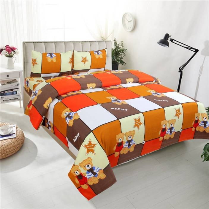 NY STORES 240 TC Microfiber Double 3D Printed Bedsheet - Buy
