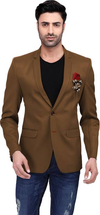 62808a86feb N DOT Self Design Single Breasted Casual, Formal, Party, Wedding Men's  Blazer (Brown)