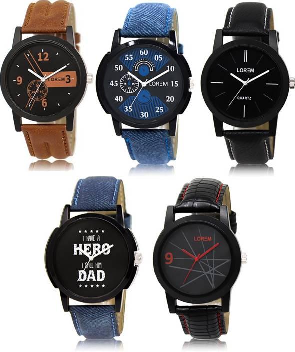 LOREM LK-1-2-5-7-8 Multicolor Designer pack of 5 Watch - For Men