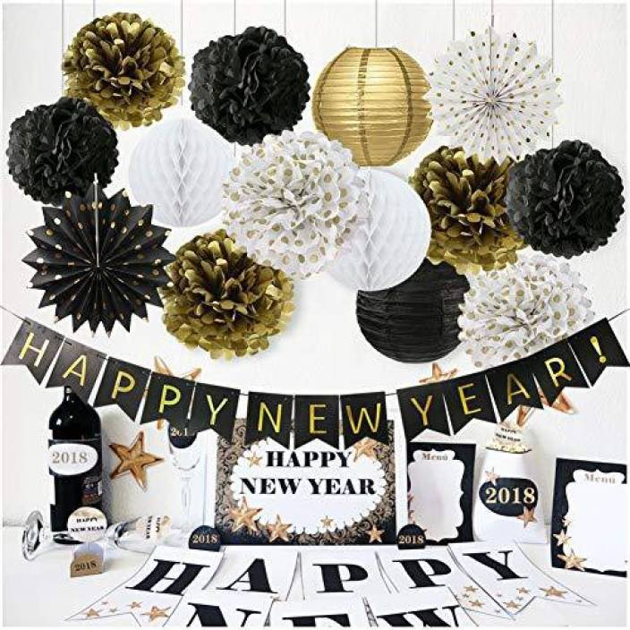 genrc happy new year decorations happy new year banner chinese paper lanterns tissue paper flowers pom
