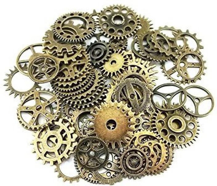 Approx 80Pcs Diy Assorted Color Antique Metal Steampunk Gears  Pendan 100 Gram