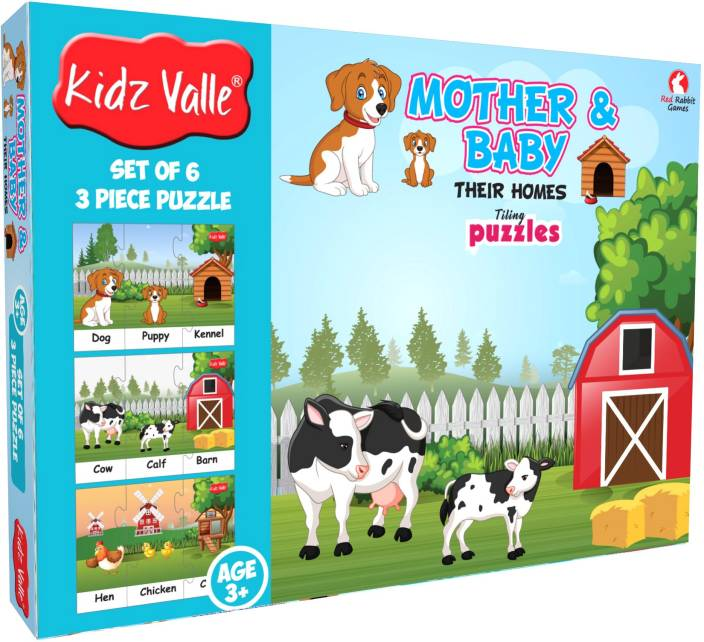 Kidz Valle Baby & Mother Their Homes - 6 x 3 pc ( Jigsaw Puzzles