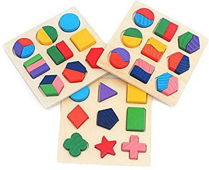 Genrc 3 Sets Of Shapes Wooden Shape Puzzle Blocks Chunky