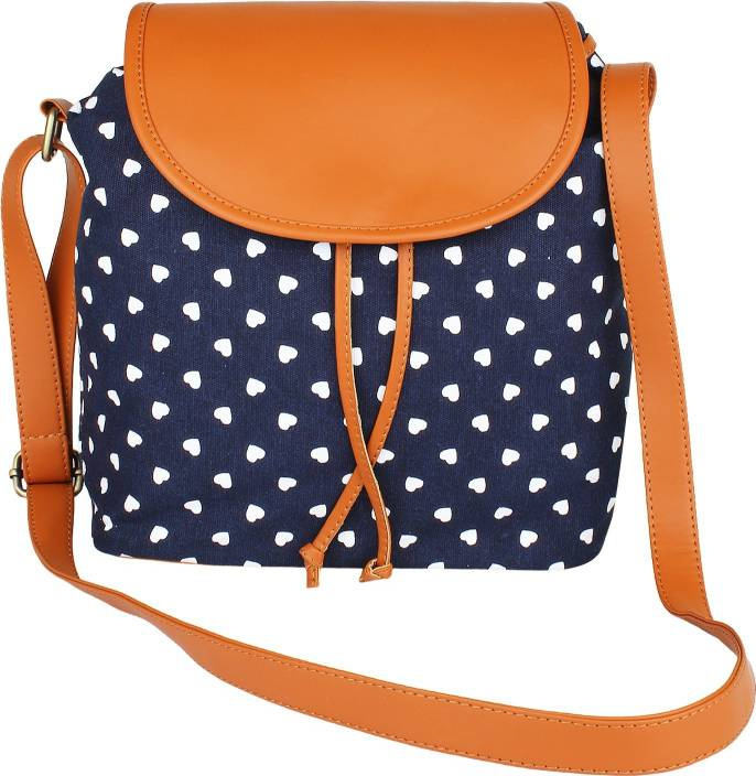 6eda59a33dd Lychee Bags Women Casual Blue Canvas, PU Sling Bag Blue - Price in ...