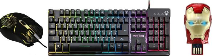 f797329a61f MEETION K9300 Backlit Semi Mechanical Gaming Keyboard And XM505 Wired  Optical Gaming Mouse With Iron Man