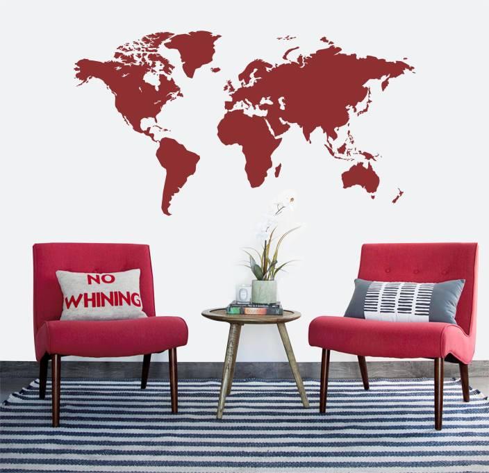 "khirki medium "" world map "" pvc vinyl wall sticker price in india"