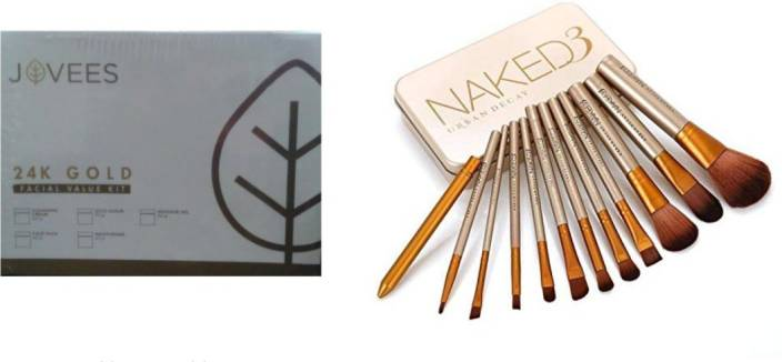 Jovees 24 Carat Gold Rejuvenating Facial Kit + Naked 12 pcs Brush Set (Set of 2)