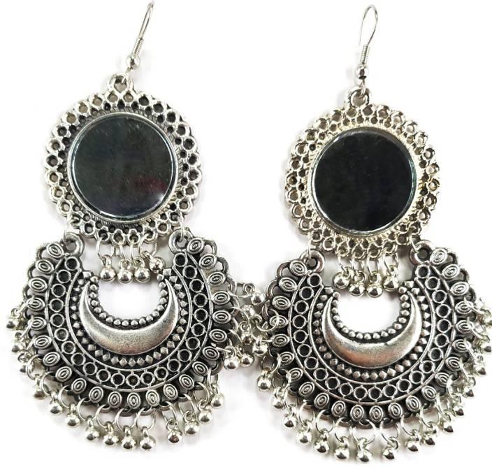 e09d0e45b Flipkart.com - Buy IQ Creations Afghani Tribal Oxidised Dangler Stylish  Fancy Party Wear Mirror Earrings for Girls and Women : 215-SILVER German  Silver ...