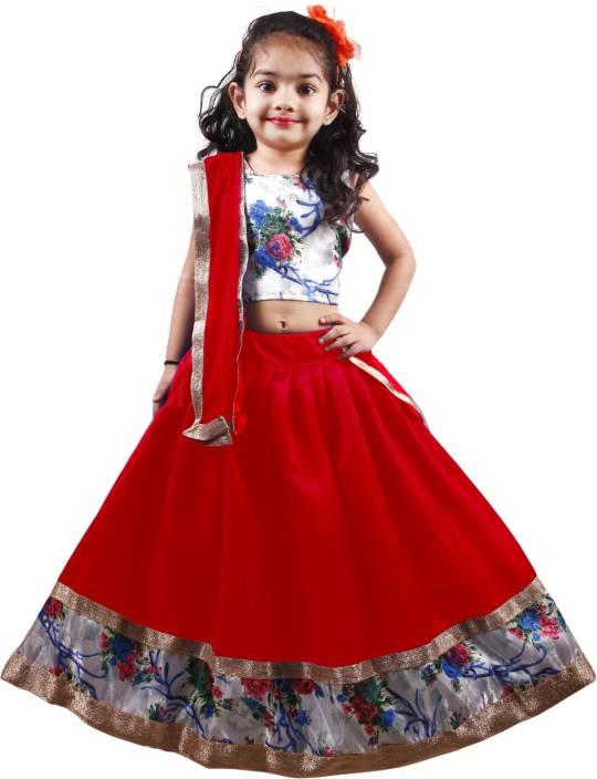 d52ba3c84b NAJARA FASHION Girl's Lehenga Choli Ethnic Wear Printed Lehenga, Choli and  Dupatta Set (Red, Pack of 1)