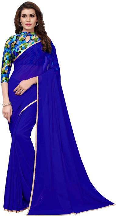 9a8c95ea82d525 Buy MODEL MADNESS Plain Daily Wear Georgette Dark Blue Sarees Online ...