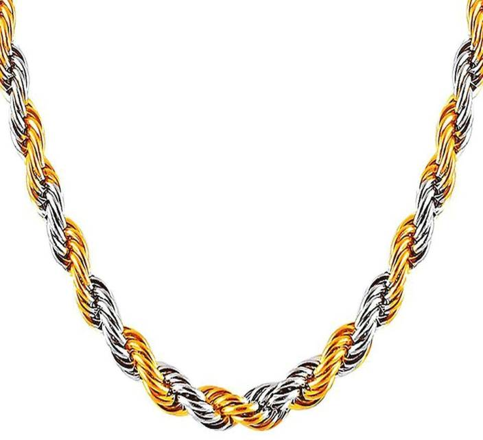 Meenaz Men Jewellery Valentine Silver Gold Chain Combo Necklace