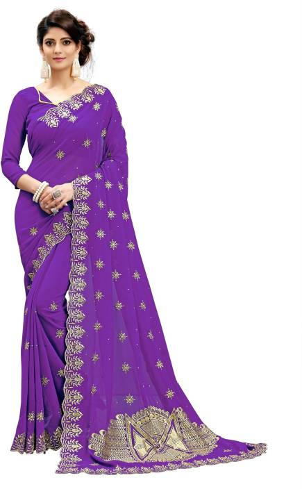 4dd3b0f3ab Rudra Fashion Embroidered, Embellished Fashion Georgette Saree (Purple,  Gold)