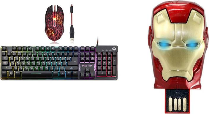 da5556daf78 MEETION K9300 Usb Rainbow Backlit SEMI MECHANICAL Gaming Keyboard and XM508  GAMING MOUSE WITH Iron Man Head 32 GB Pen Drive Metal Face Combo Set Price  in ...