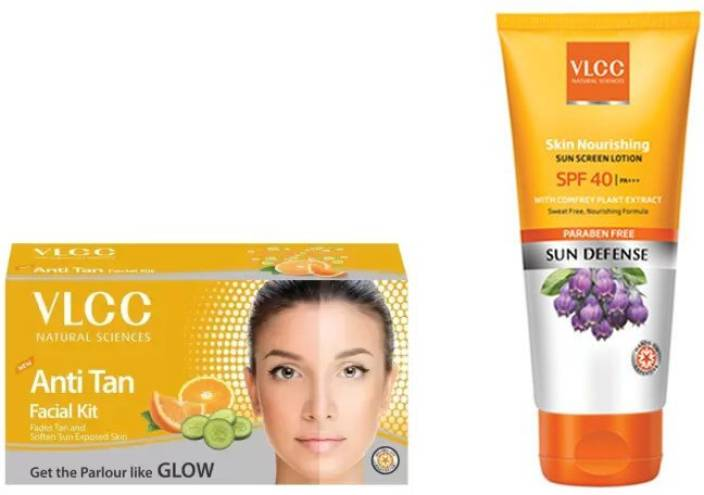 VLCC Anti Tan Facial Kit, Skin Nourishing SPF 40 Sun Screen Lotion Personal Care Appliance Combo  (Face Epilator)
