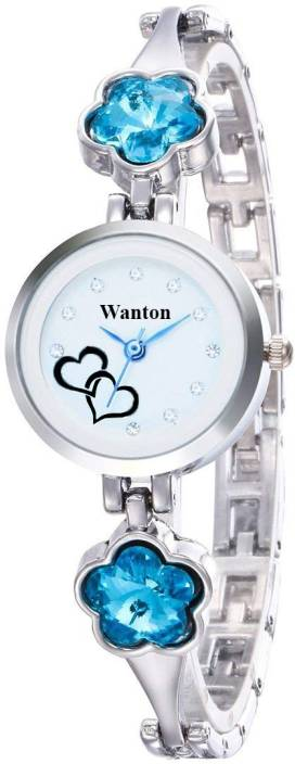 WANTON silver Ladies skyblue Crystal Diamond Watch Women Casual Analog New Rhinestone Silver Gold Saat Love Heart Lady Bracelet Watch - For Girls