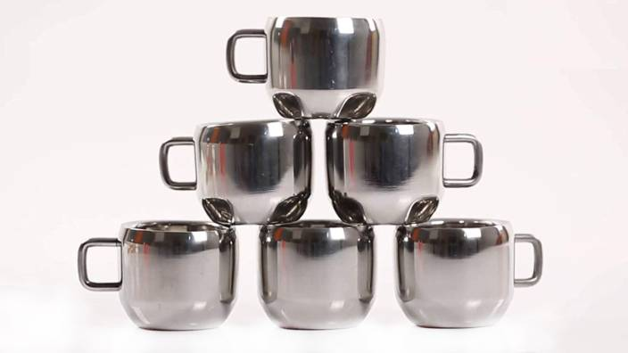 Human Hydro Royal Steel Double Walled Tea Cupscoffee Cups Set Of 6