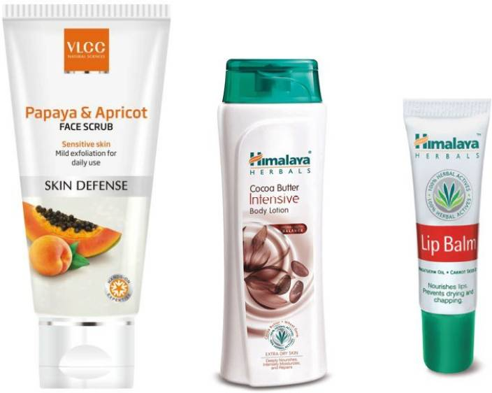 VLCC Papaya & Apricot Face Scrub, Cocoa Butter Intensive Body Lotion, Lip Balm Health Care Appliance Combo