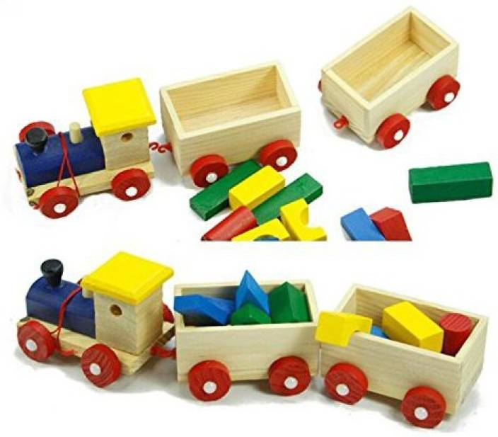 Genrc Wooden Geometric Shapes Pull Train Puzzles Games Toddlers
