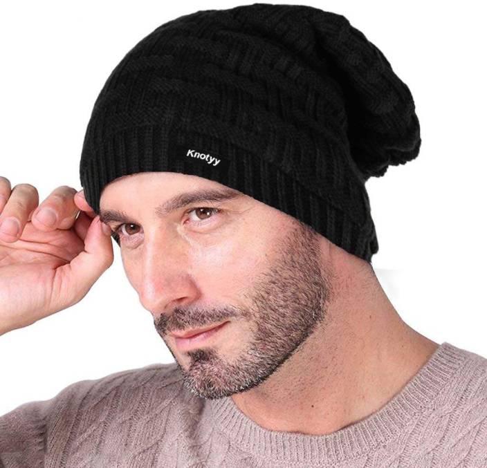 8c3565c5297 Knotyy Solid Winter Woolen Cap - Buy Black Knotyy Solid Winter Woolen Cap  Online at Best Prices in India