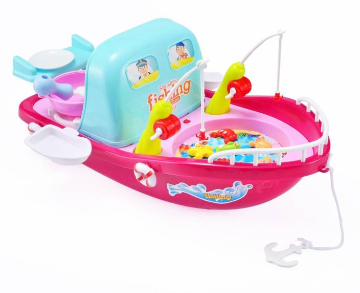 Clastik Kitchen Set And Fishing Toy Playset 2 In 1 Toy Boat Shape