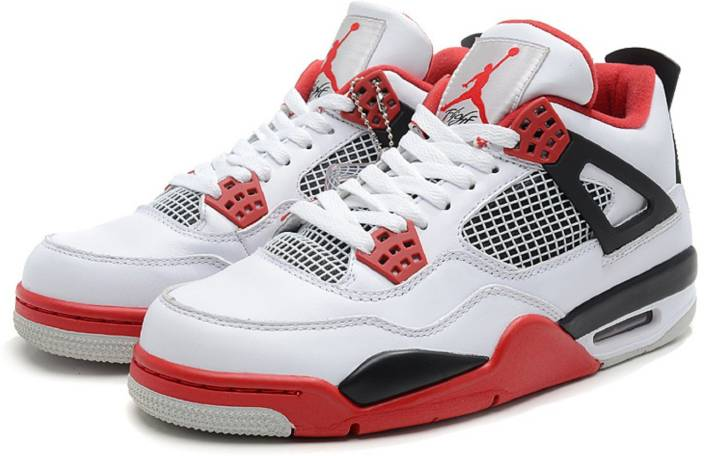307d4014f7f Air jordan 4 (IV) Retro White/Fire Red-Black Basketball Shoes For Men (White )
