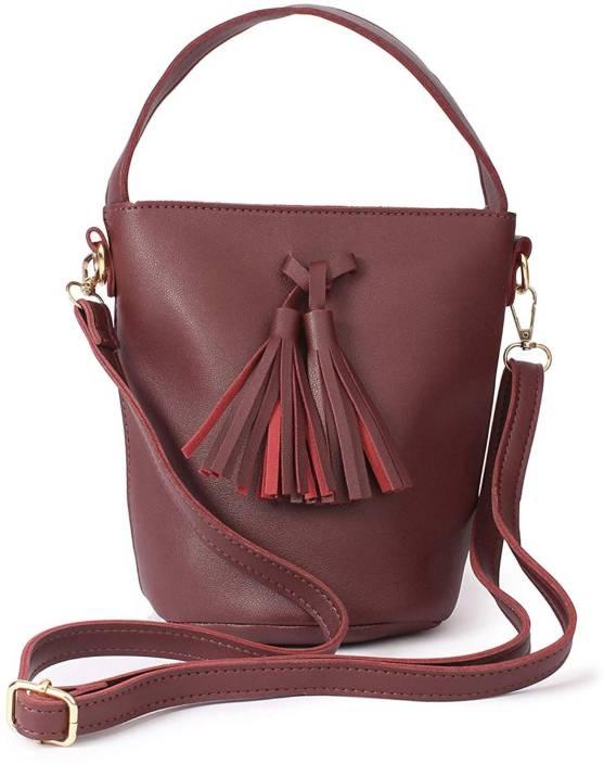 fa8746bbec MultiZone Women Casual Maroon PU Sling Bag Maroon - Price in India ...
