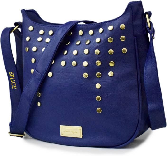 SPLICE Women Casual Blue PU Sling Bag