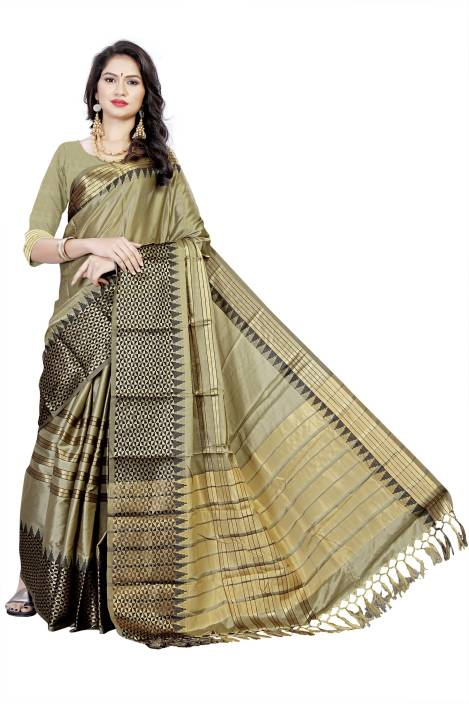132479edc7bd9 Buy Wedding vale Self Design Handloom Cotton Silk Light Green Sarees ...